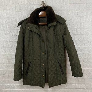 Marc New York olive quilted zip hooded coat